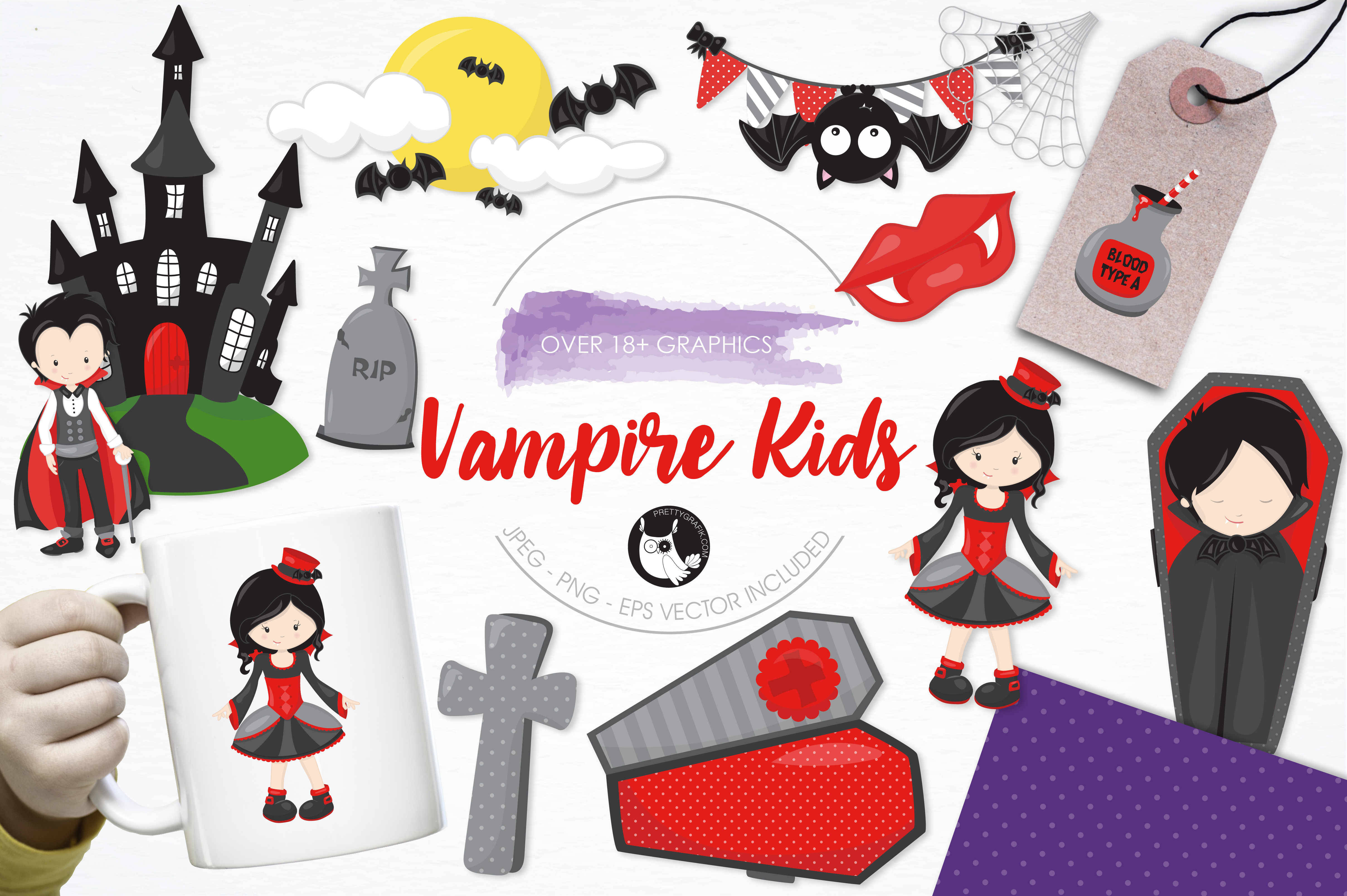Print on Demand: Vampire Kids Grafik Illustrationen von Prettygrafik