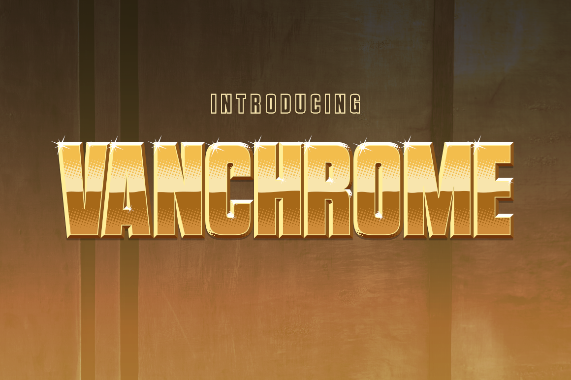 Print on Demand: Vanchrome Display Font By Typodermic