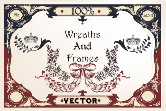 Vector Wreath and Frames Graphic Objects By fleurartmariia