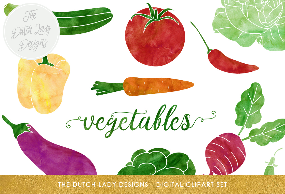 Print on Demand: Vegetable Clipart Set - Watercolor Veggie Images - Vegetable Garden - Produce Graphics Graphic Illustrations By daphnepopuliers