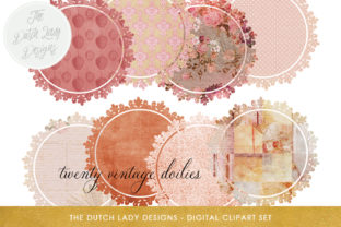 Vintage Doily Clipart Set Circle Shape Labels With Pink Toned Patterns Graphic By Daphnepopuliers Creative Fabrica