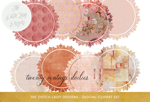 Vintage Doily Clipart Set Circle Shape Labels With Pink Toned Patterns