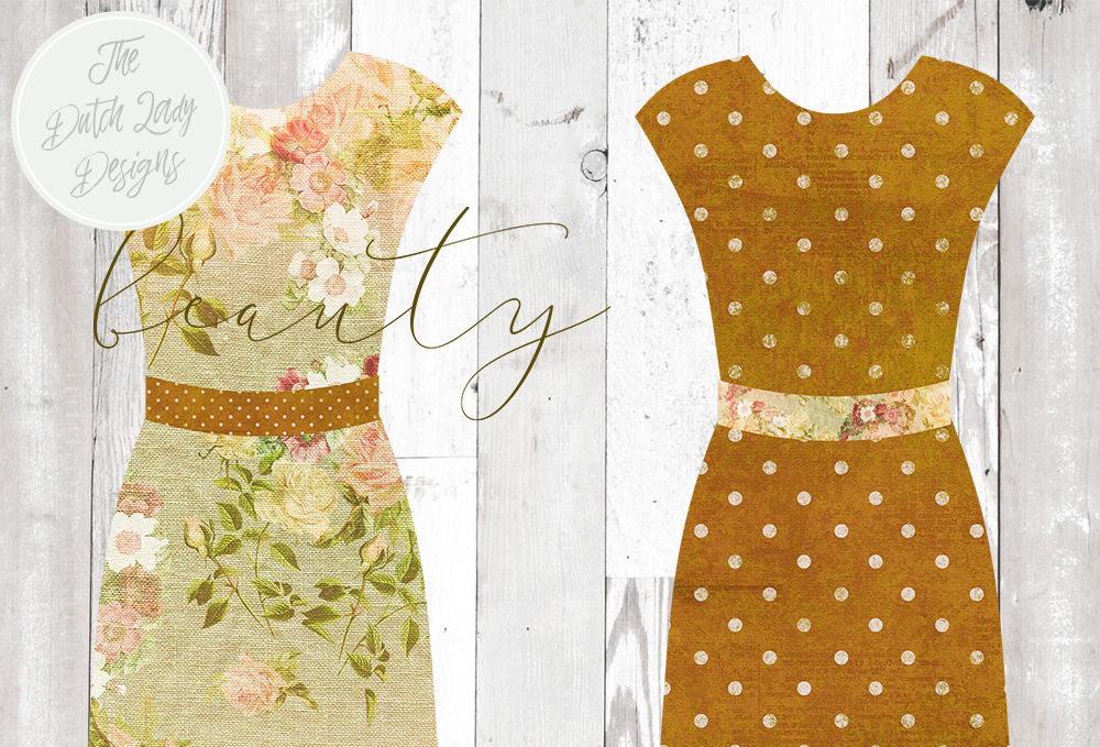 Print on Demand: Vintage Fashion & Couture Clipart Set - Green and Brown Dresses and Mannequins Graphic Illustrations By daphnepopuliers - Image 4