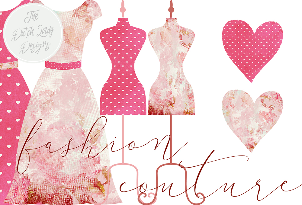 Print on Demand: Vintage Fashion & Couture Clipart Set - Pink and Fuchsia Dresses and Mannequins Graphic Illustrations By daphnepopuliers - Image 2