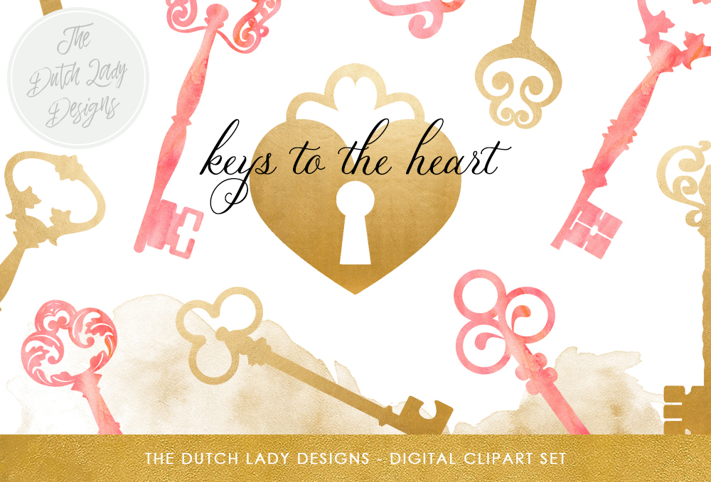 Vintage Key Keyhole Clipart Set Golden And Pink Watercolor Keys Keyholes And Paint Stains Graphic By Daphnepopuliers Creative Fabrica
