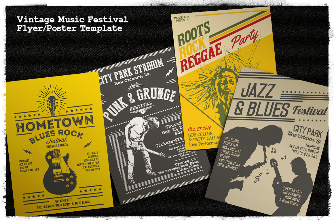 Print on Demand: Vintage Music Festival Flyer/Poster Graphic Print Templates By Tiar Prayoga