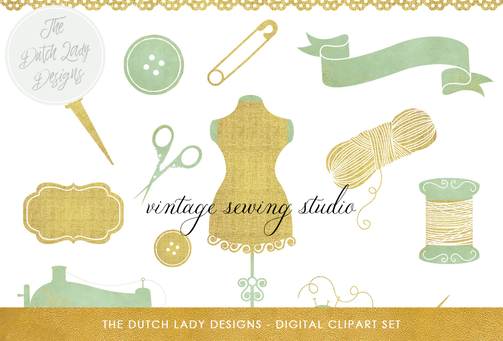 Vintage Sewing Studio Clipart Set - Mannequins, Dress, Scissors, Thread, Needle, Sewing Machine Graphic By daphnepopuliers