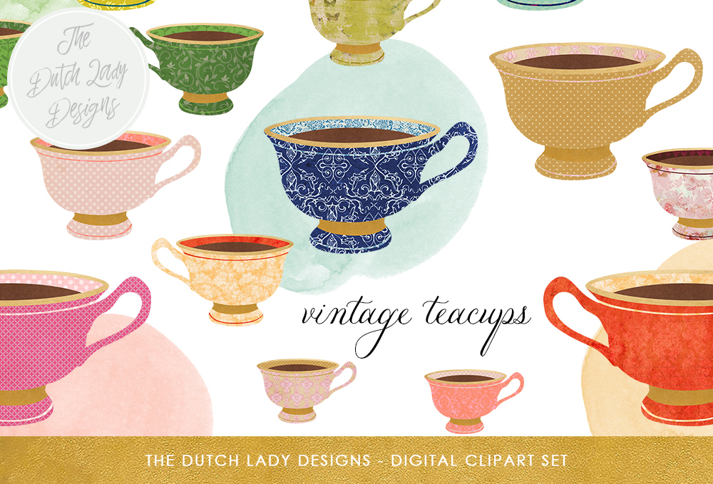Print on Demand: Vintage Teacup Clipart Set - Vintage & Golden Style - Watercolor Circles Included - INSTANT DOWNLOAD Graphic Illustrations By daphnepopuliers
