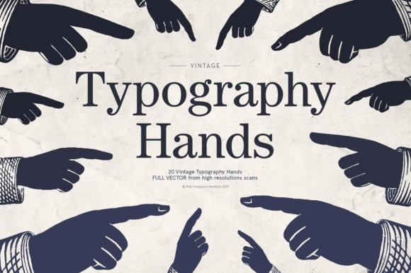 Print on Demand: Vintage Typography Hands Graphic Illustrations By pfmartini