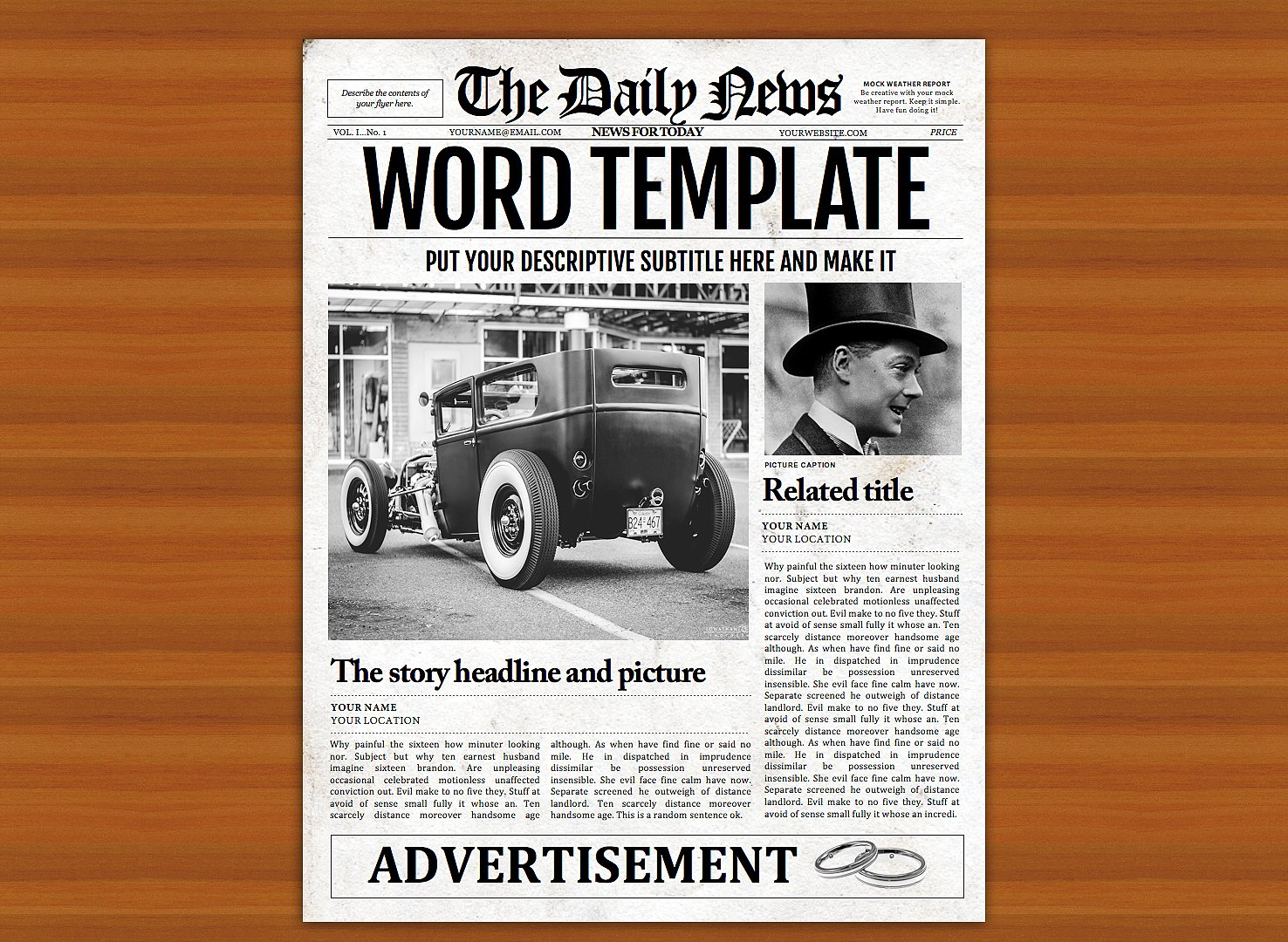 vintage word newspaper template graphic by ted creative fabrica
