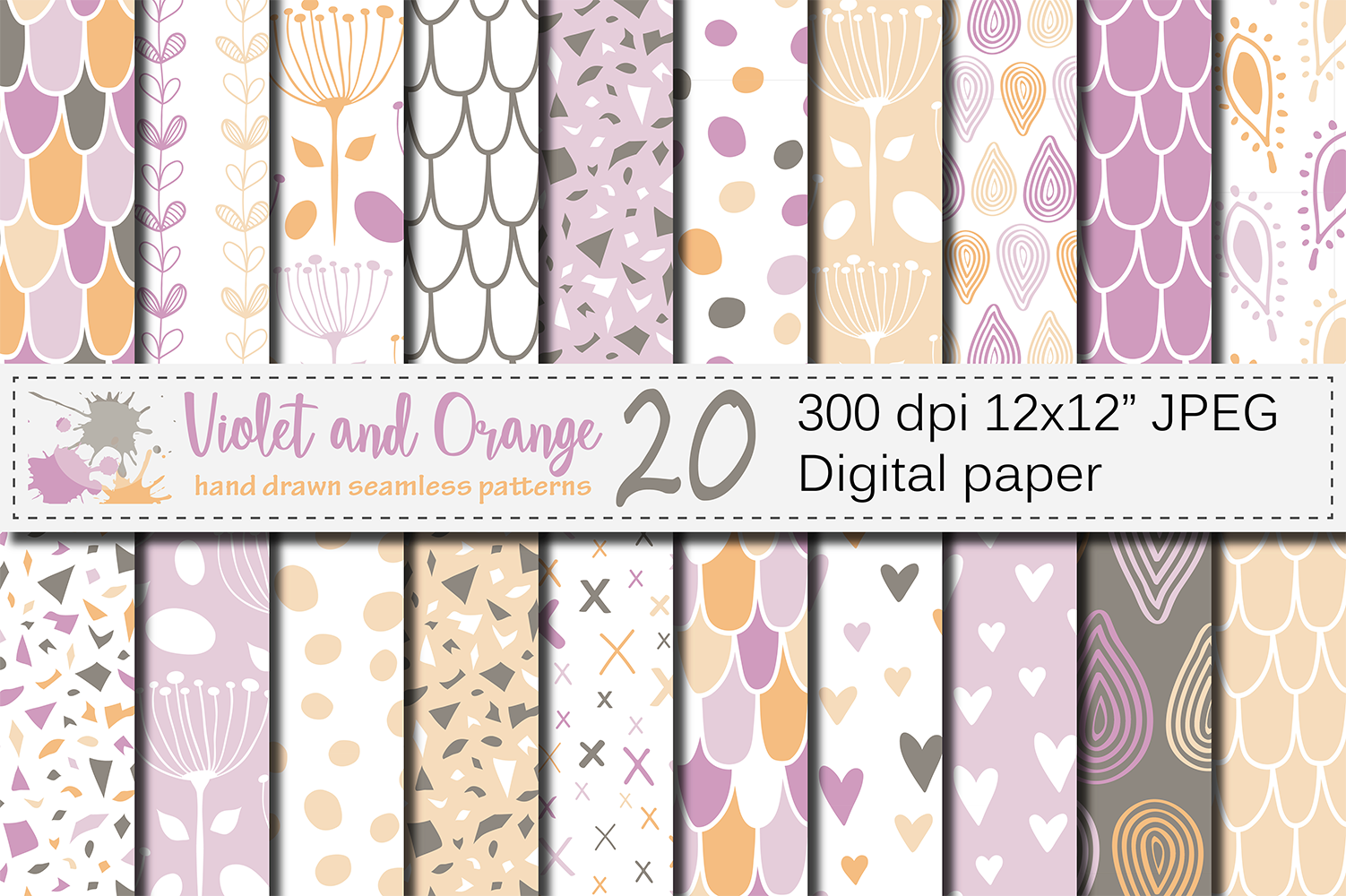 Download Free Violet And Orange Seamless Digital Paper Graphic By Vr Digital for Cricut Explore, Silhouette and other cutting machines.