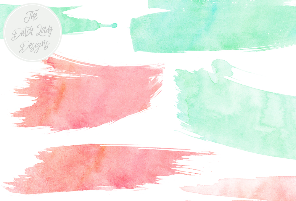 Download Free Watercolor Brush Stroke Clipart In Peach Mint Graphic By for Cricut Explore, Silhouette and other cutting machines.