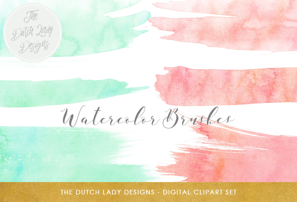 Print on Demand: Watercolor Brush Stroke Clipart - in Peach & Mint Gráfico Crafts Por daphnepopuliers