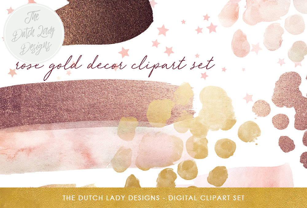 Print on Demand: Watercolor & Glitter Clipart Set - Smears, Stars and Dots in Rose Gold Tones Graphic Crafts By daphnepopuliers