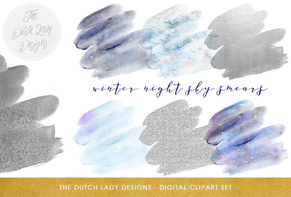 Print on Demand: Watercolor & Glitter Smear Clipart Set - Winter Night Sky and Silver Color Tones Graphic Crafts By daphnepopuliers