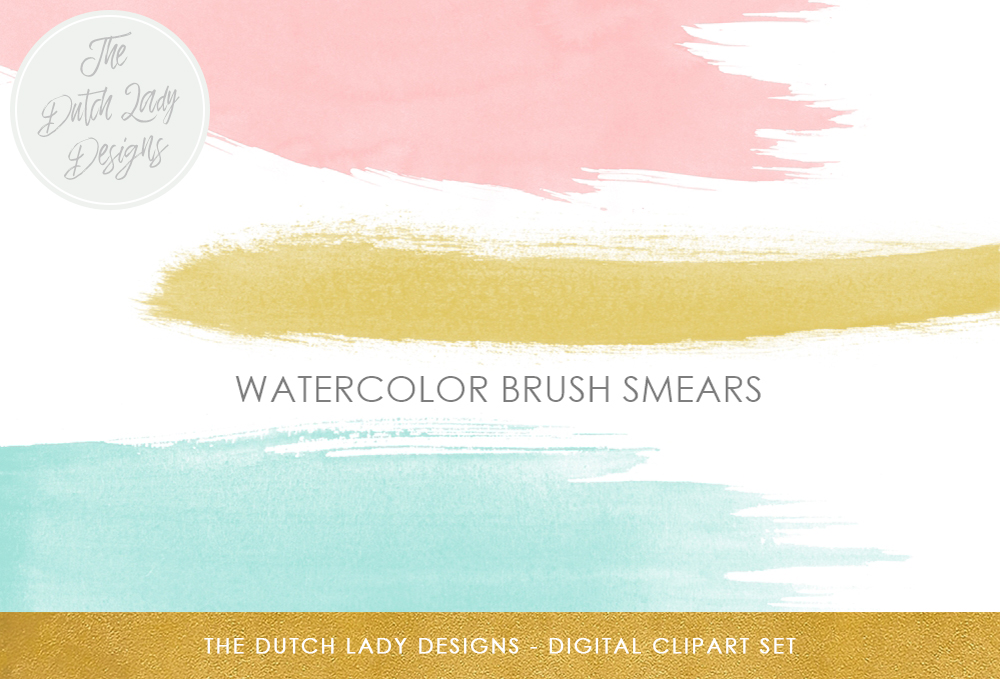 Print on Demand: Watercolor Paint Brush Strokes Clipart - in Pink, Aqua & Oker Graphic Backgrounds By daphnepopuliers
