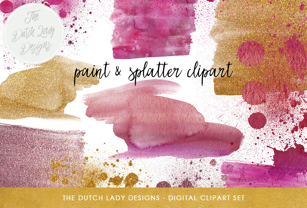 Print on Demand: Watercolor Paint & Splatter Clipart Set - Abstract Decorations in Purple and Golden Glitter Graphic Crafts By daphnepopuliers