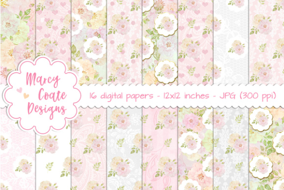 Watercolor Rose Backgrounds Graphic Patterns By MarcyCoateDesigns