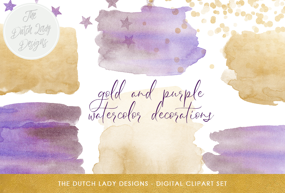 Download Free Watercolor Smears Confetti Clipart In Purple And Gold Star for Cricut Explore, Silhouette and other cutting machines.