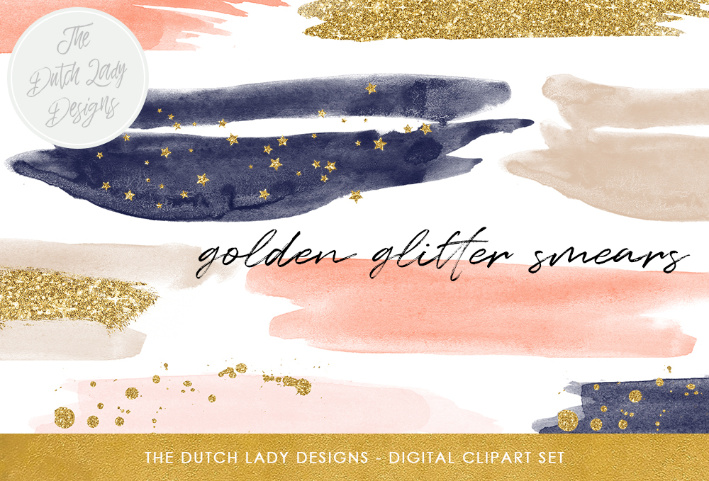 Print on Demand: Watercolor Smears with Glitter Accents - in Navy & Blush Tones Graphic Crafts By daphnepopuliers