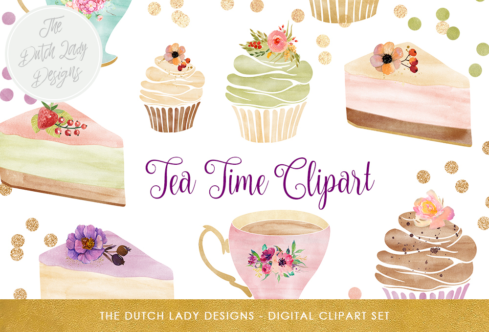 Print on Demand: Watercolor Tea Time Clipart Set - Cake, Cupcakes, Teacups & Confetti Overlays - Soft Pastels and Gold Gráfico Ilustraciones Por daphnepopuliers