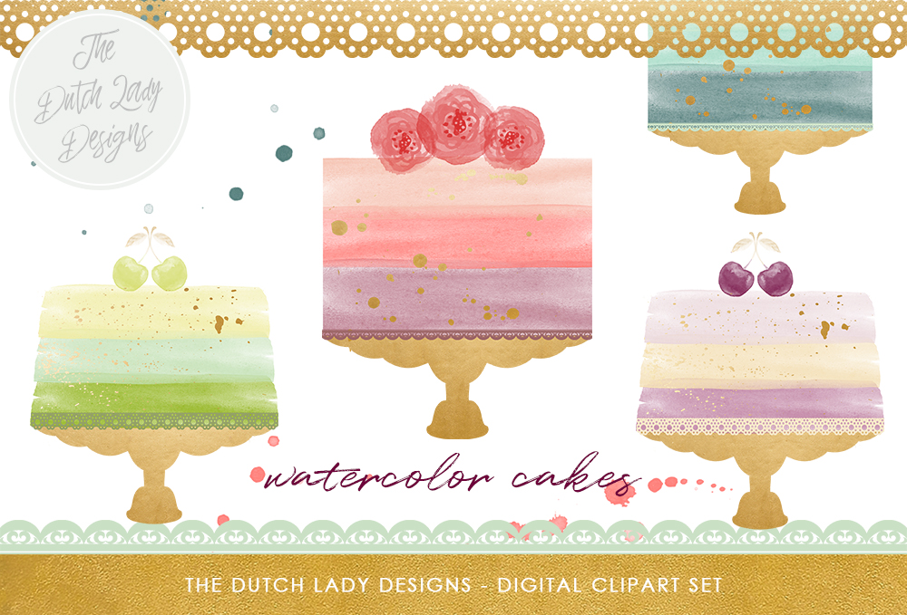 Print on Demand: Watercolor Wedding Cake Clipart Set - Ink Splatter Overlays & Borders Included Graphic Illustrations By daphnepopuliers