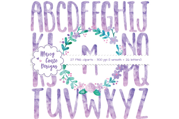 Watercolor Wreath & Alphas Clipart – Purple/pink Graphic Illustrations By MarcyCoateDesigns