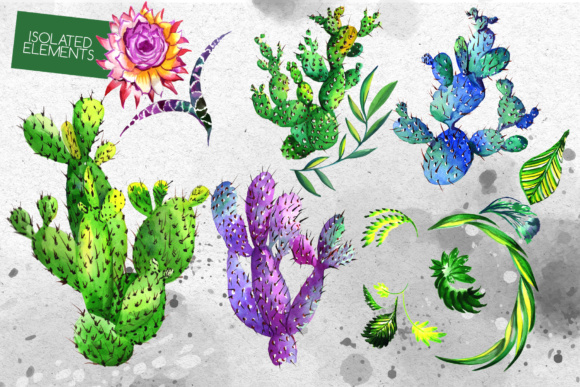 Download Free Watercolor Cactuses Wildflower Set Graphic By Mystocks for Cricut Explore, Silhouette and other cutting machines.