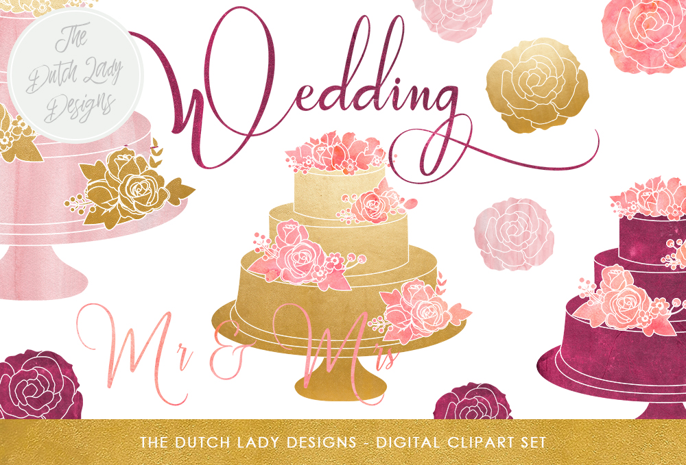 Print on Demand: Wedding Cake Clipart Set in Pink, Purple & Gold Graphic Illustrations By daphnepopuliers