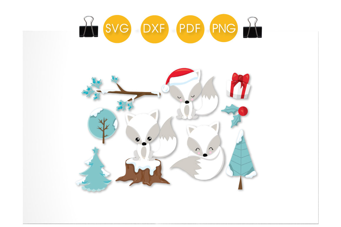 White Christmas Foxes Graphic Crafts By PrettyCuttables - Image 2