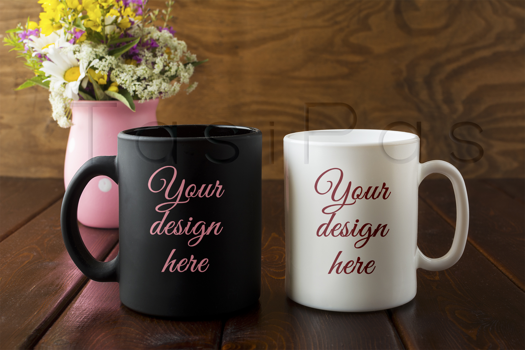 Print on Demand: White and Black Mug Rustic Mockup with Wildflowers in Pink Vase Graphic Product Mockups By TasiPas