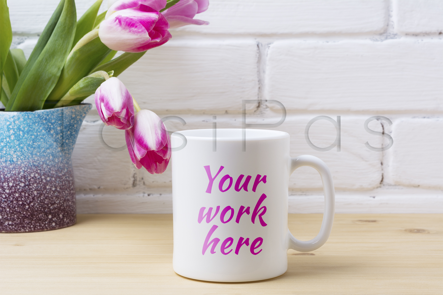 Print on Demand: White Coffee Mug Mockup with Pink Tulip in Purple Blue Vase Graphic Product Mockups By TasiPas