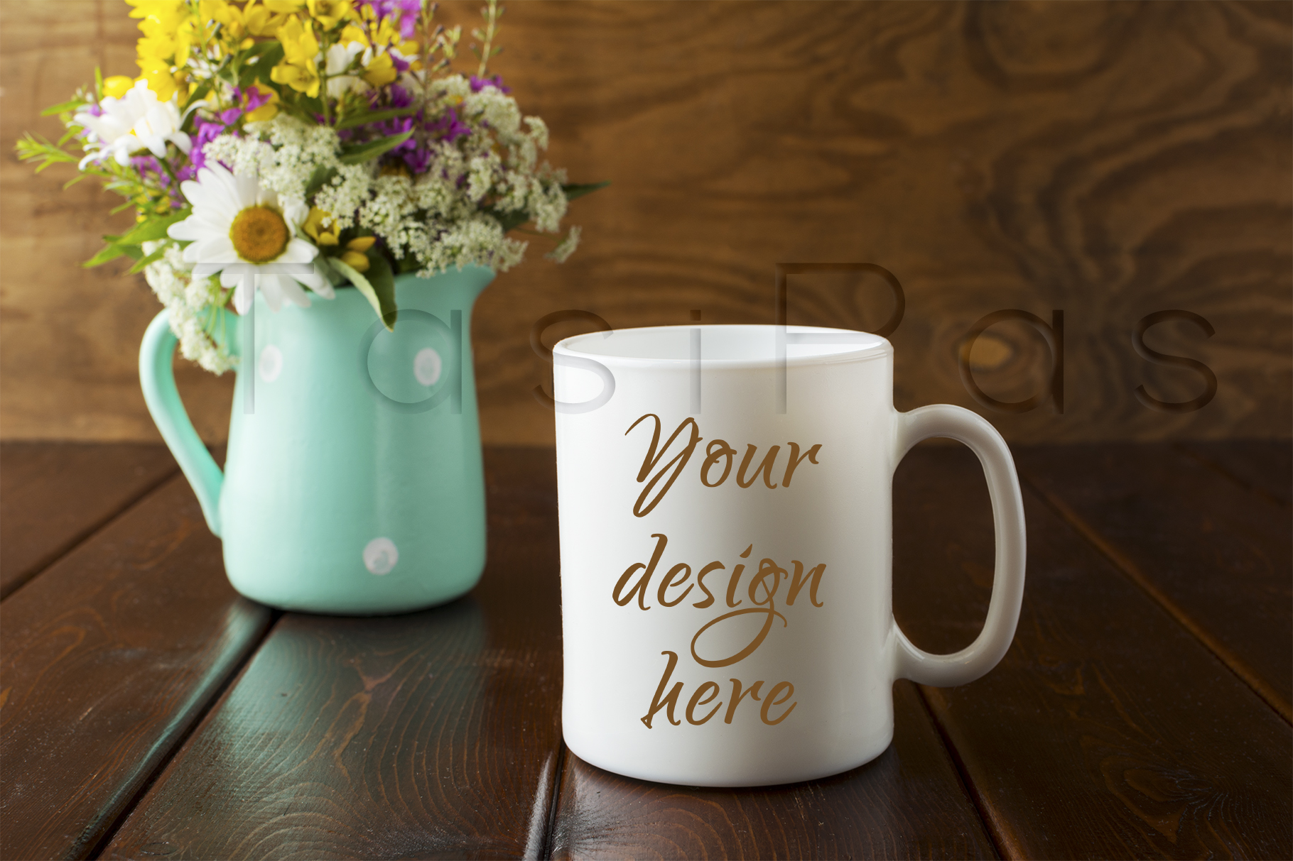 Print on Demand: White Coffee Mug Rustic Mockup with Wildflowers in Mint Green Vase Graphic Product Mockups By TasiPas