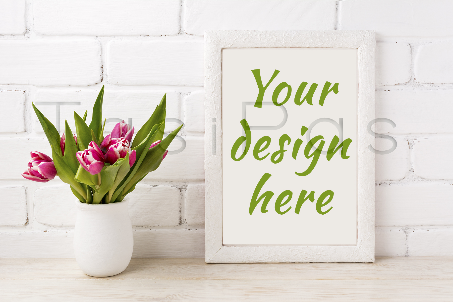 Print on Demand: White Frame Mockup with Magenta Pink Tulip in the Flower Pot Graphic Product Mockups By TasiPas - Image 2