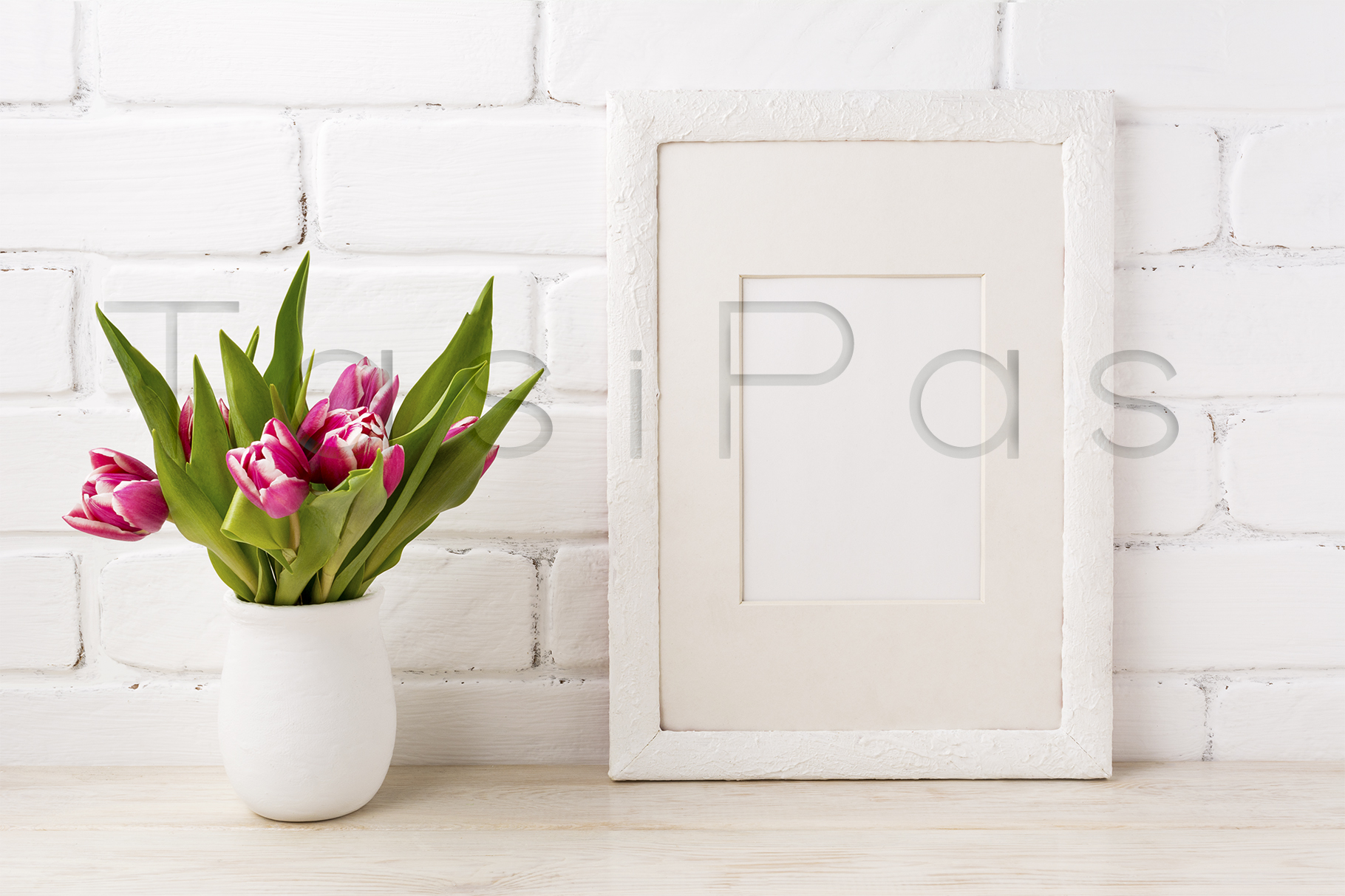 Print on Demand: White Frame Mockup with Magenta Pink Tulip in the Flower Pot Graphic Product Mockups By TasiPas - Image 3