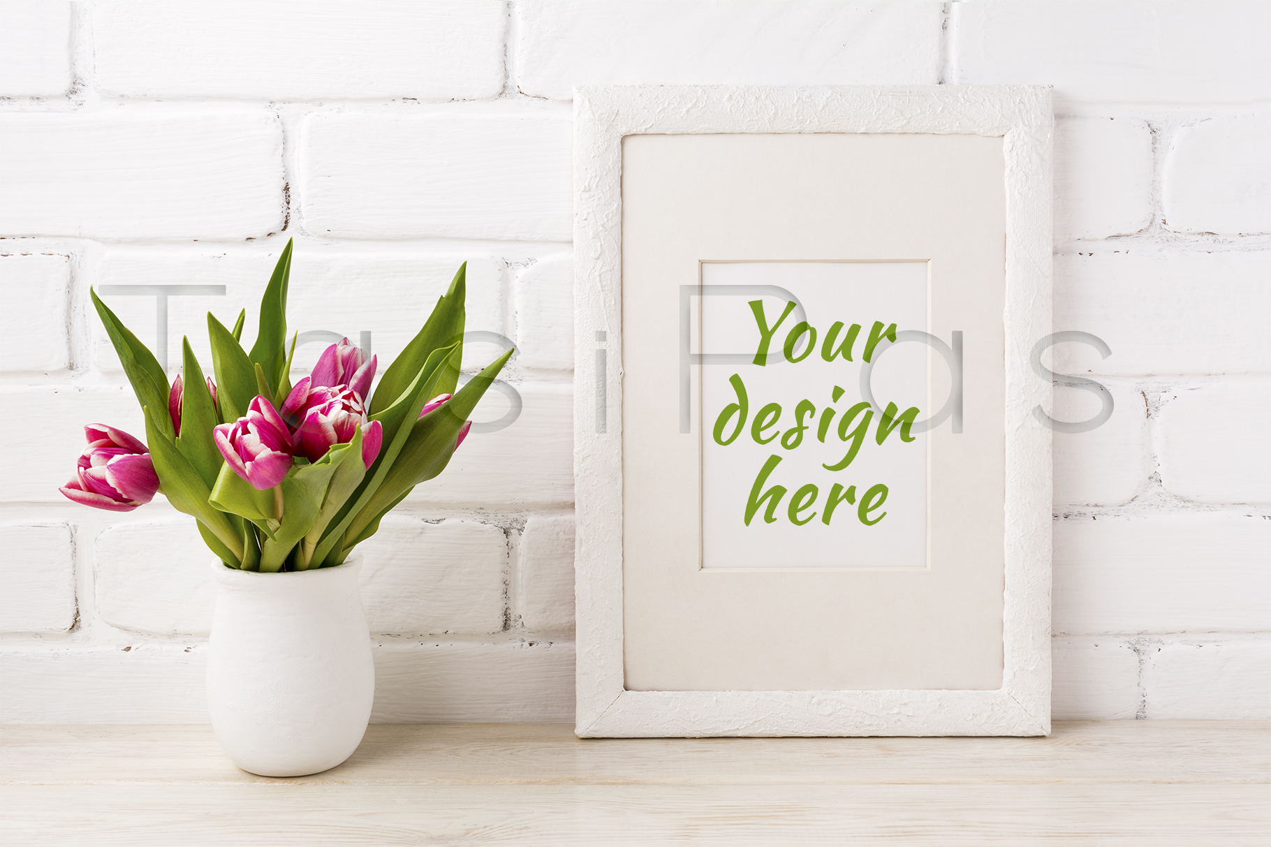 Print on Demand: White Frame Mockup with Magenta Pink Tulip in the Flower Pot Graphic Product Mockups By TasiPas