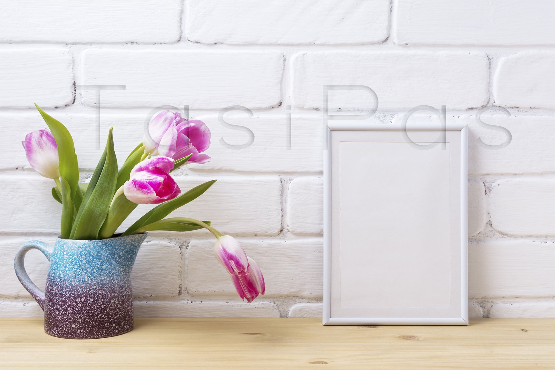 Print on Demand: White Frame Mockup with Pink Tulip Graphic Product Mockups By TasiPas - Image 2