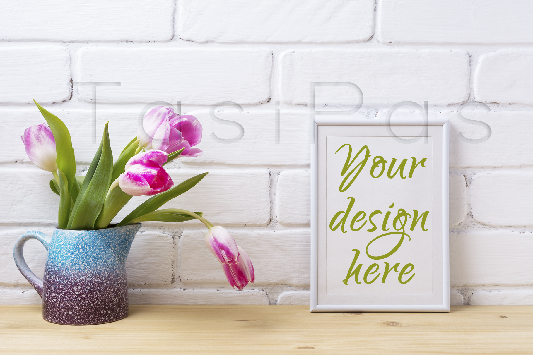 Print on Demand: White Frame Mockup with Pink Tulip Graphic Product Mockups By TasiPas