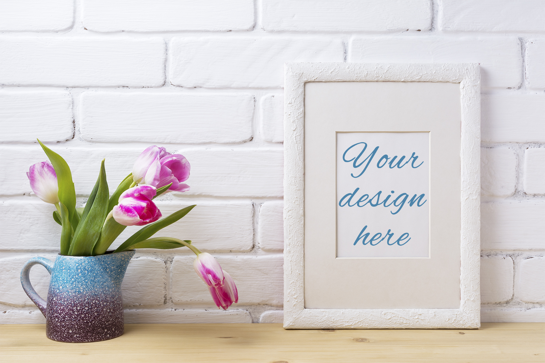 Download Free White Frame Mockup With Pink Tulip In Blue Pitcher Graphic By SVG Cut Files