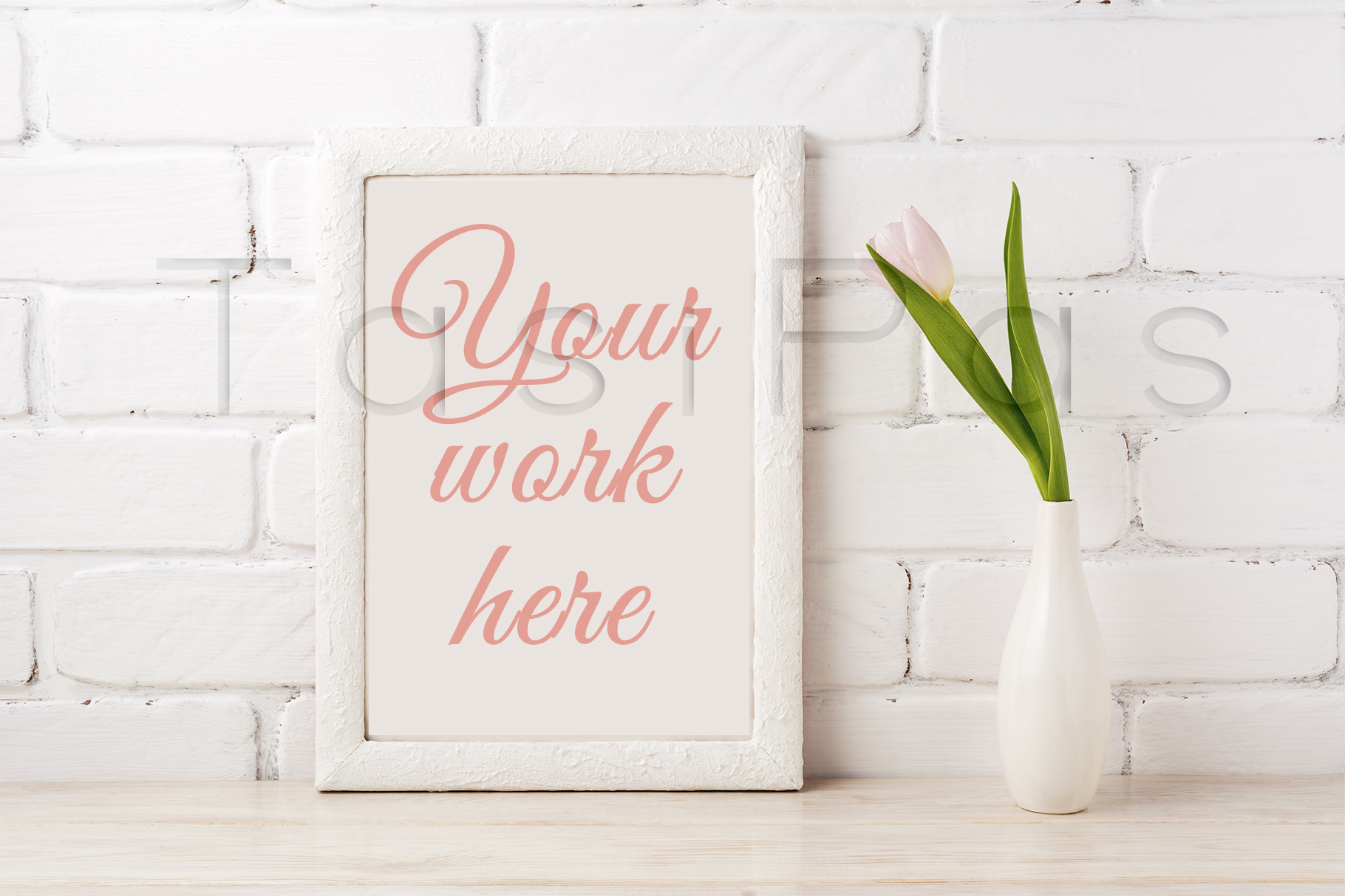 Print on Demand: White Frame Mockup with Tender Pink Tulip Graphic Product Mockups By TasiPas - Image 2