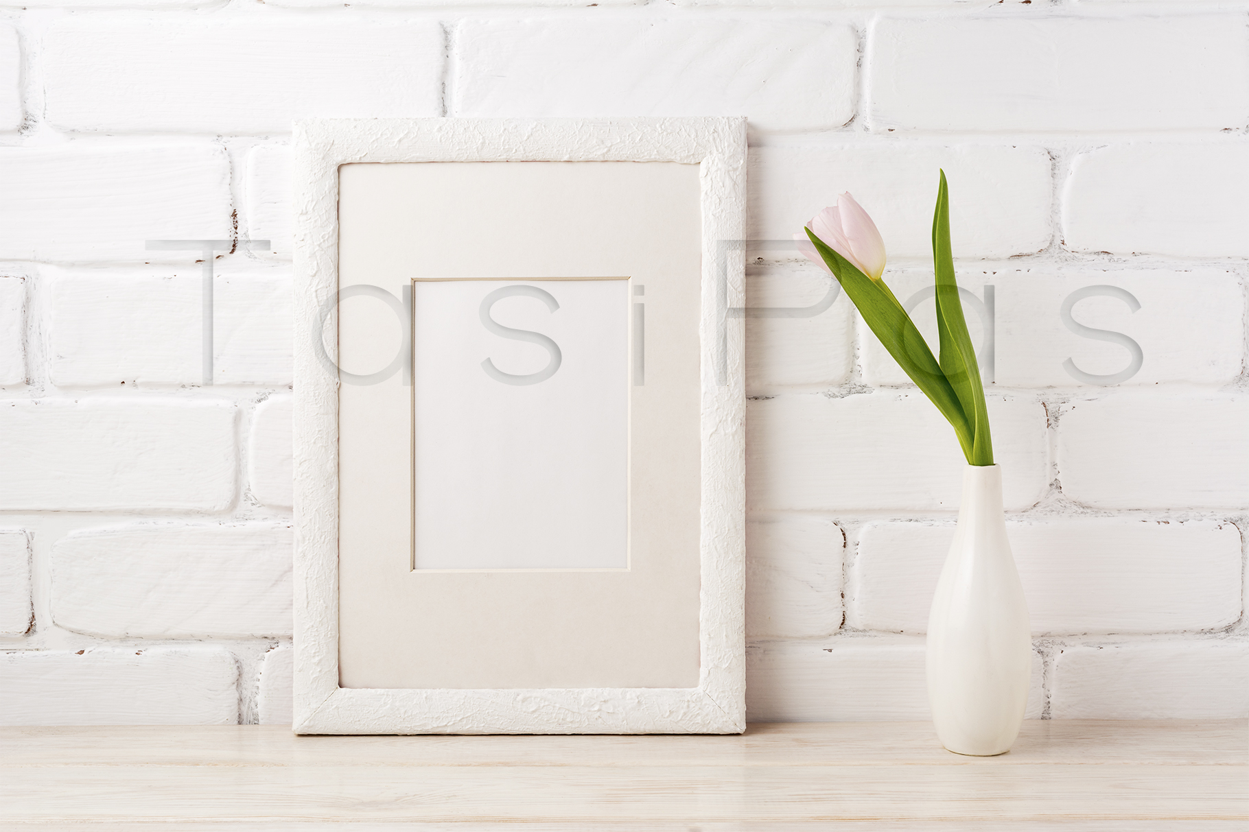 Print on Demand: White Frame Mockup with Tender Pink Tulip Graphic Product Mockups By TasiPas - Image 3