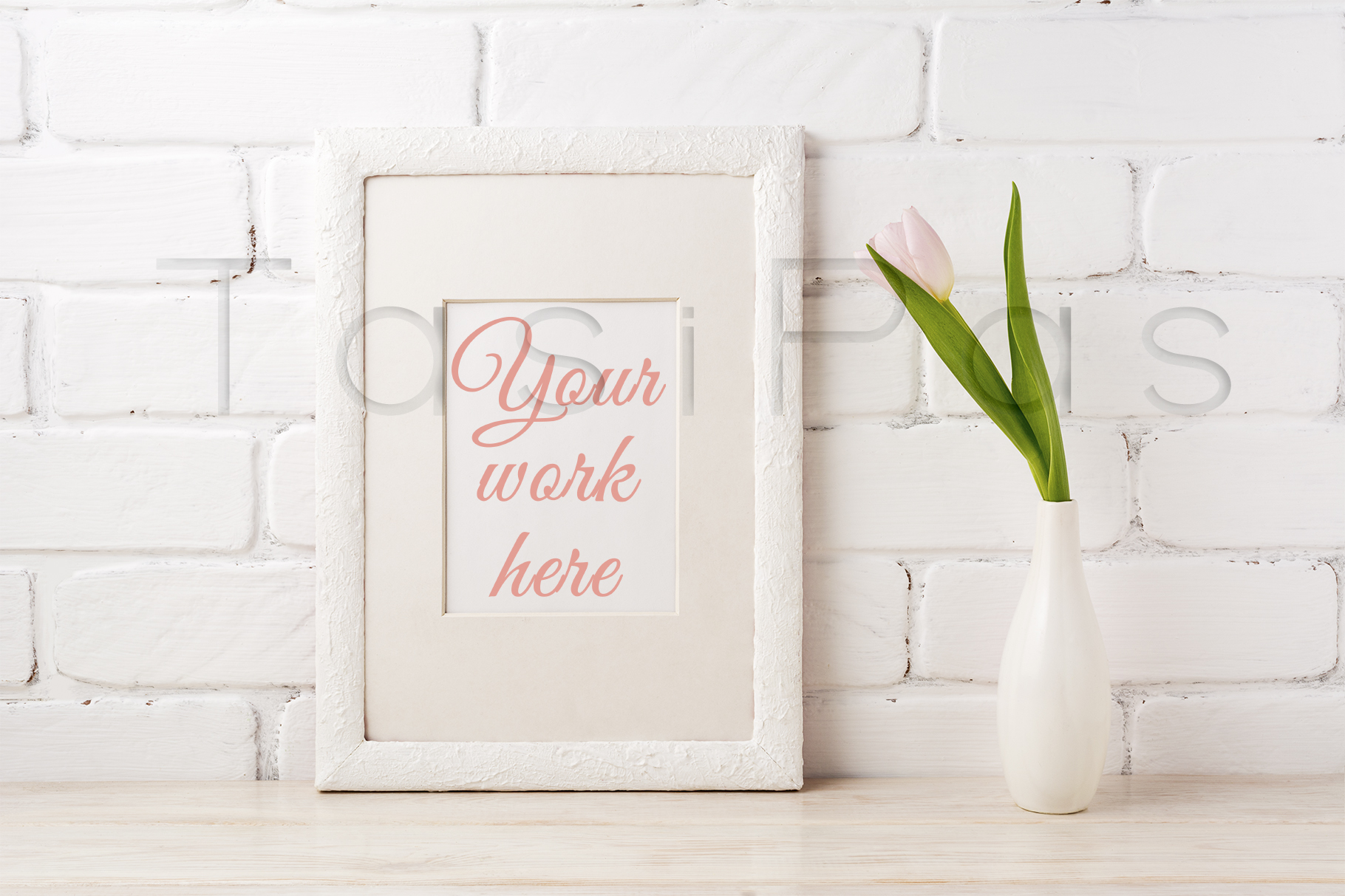 Print on Demand: White Frame Mockup with Tender Pink Tulip Graphic Product Mockups By TasiPas
