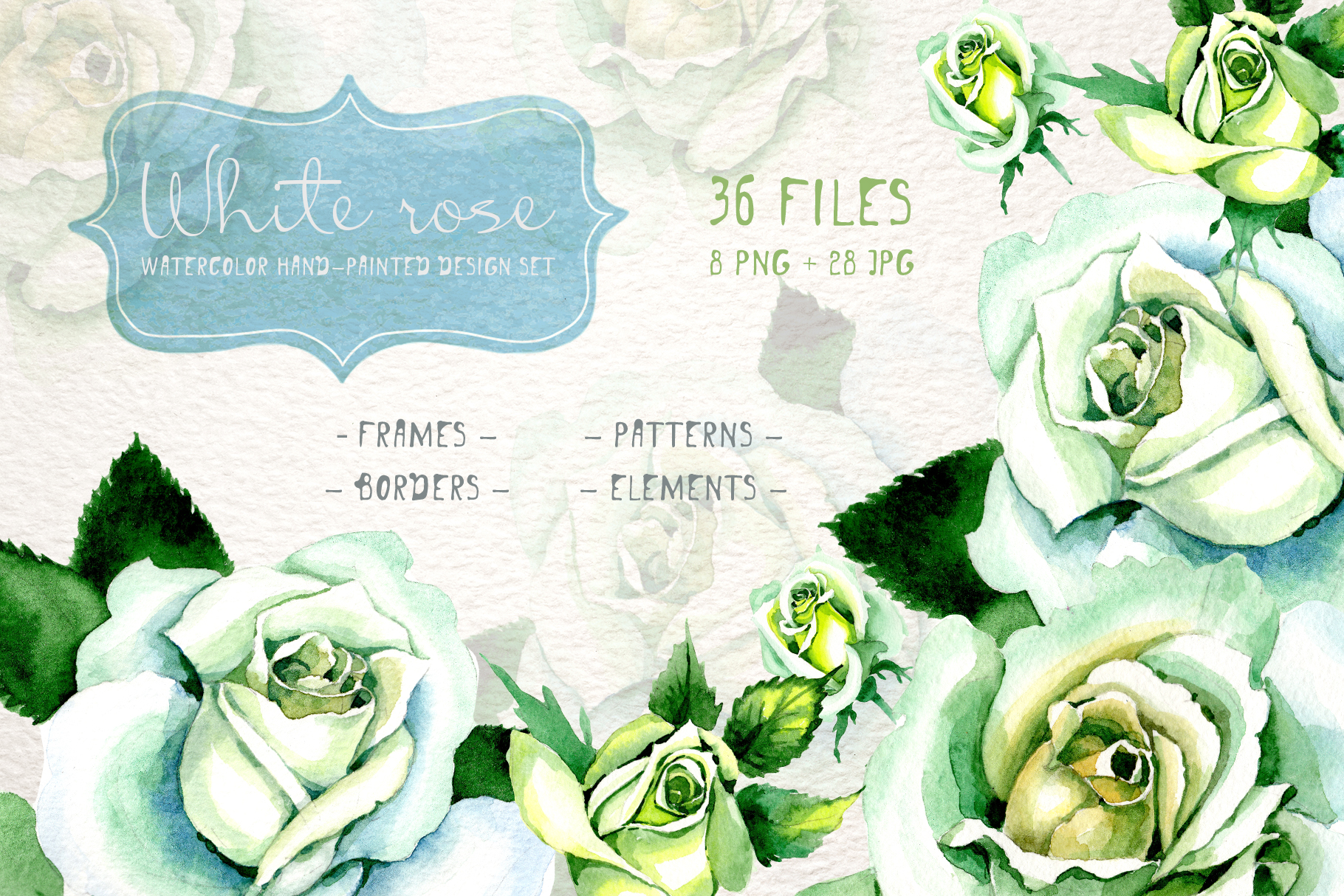 Download Free White Rose Watercolor Flower Set Graphic By Mystocks Creative for Cricut Explore, Silhouette and other cutting machines.
