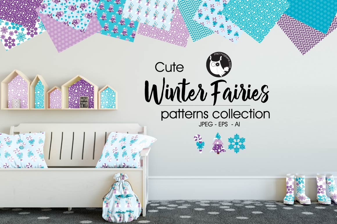 Print on Demand: Winter Fairies Grafik Muster von Prettygrafik