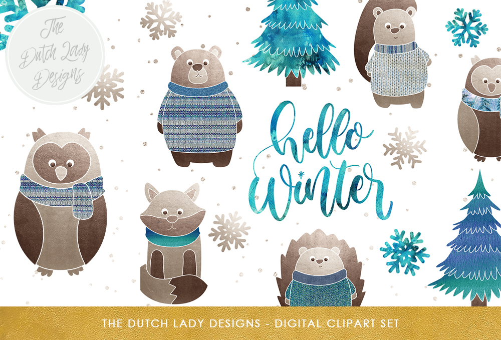 Winter Forest Friends Clipart Set Graphic By daphnepopuliers