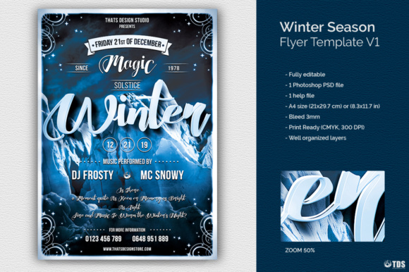 Winter Season Flyer Template V1 Graphic Print Templates By ThatsDesignStore - Image 2