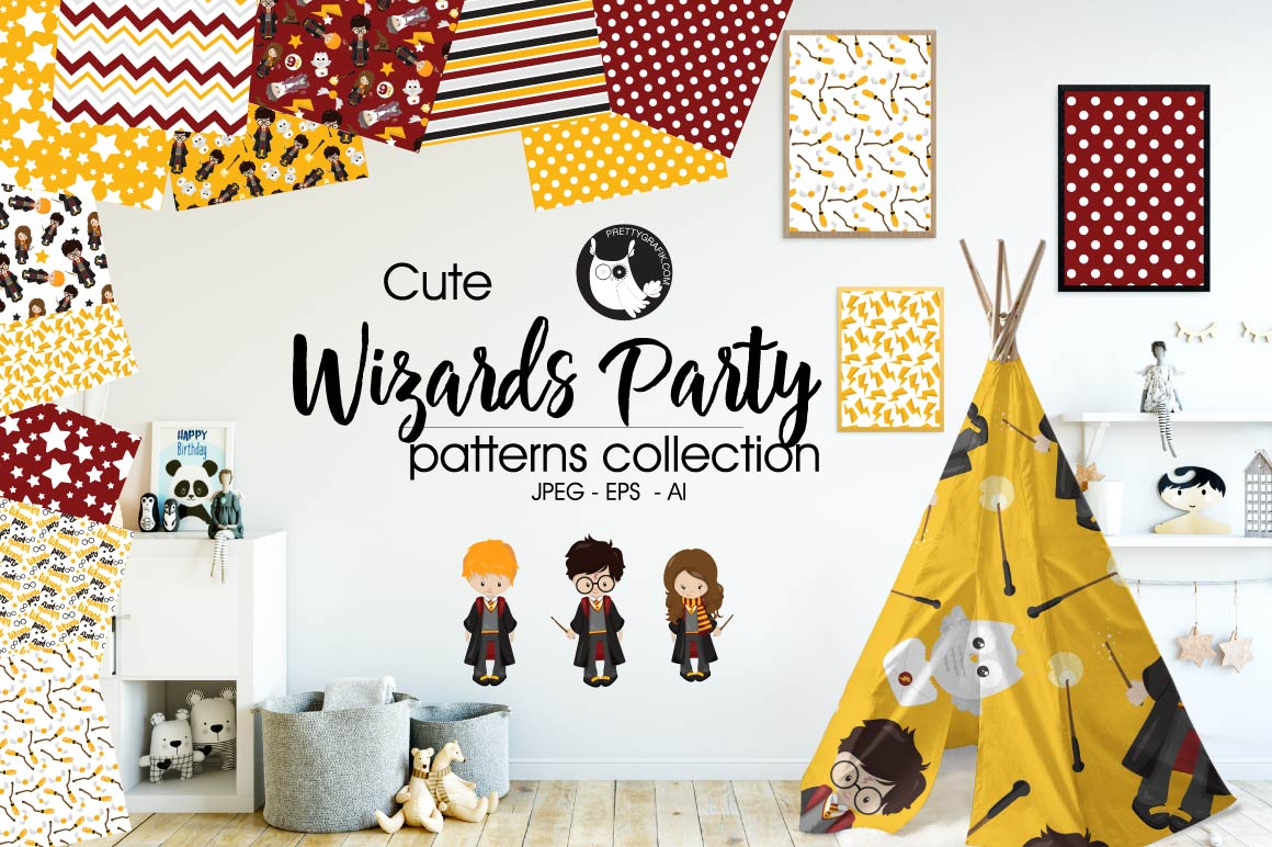 Print on Demand: Wizards Party Graphic Patterns By Prettygrafik