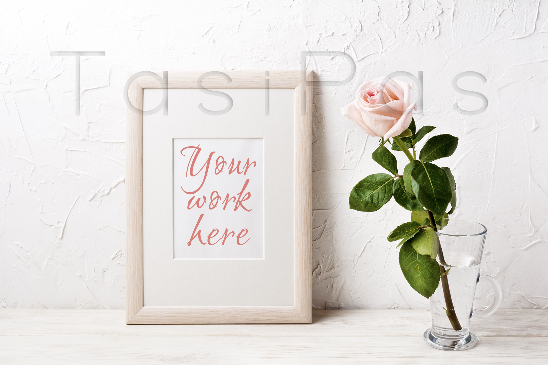 Print on Demand: Wooden Frame Mockup with Pink Rose Graphic Product Mockups By TasiPas