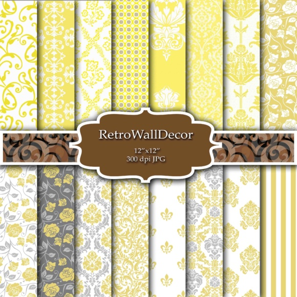 Print on Demand: Yellow Damask Papers Graphic Backgrounds By retrowalldecor