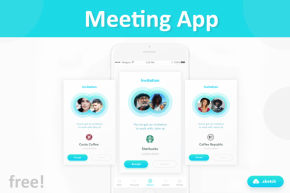 Free Meeting App Graphic UX and UI Kits By Creative Fabrica Freebies